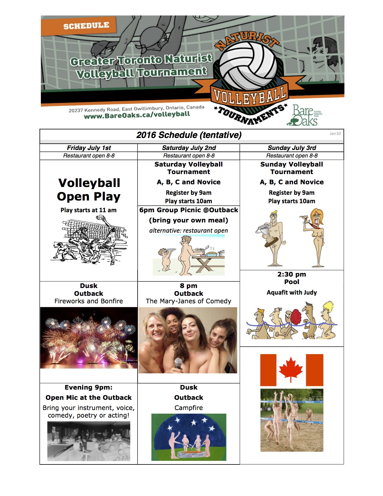 10th Annual GTA Nude Volleyball Tournament Schedule