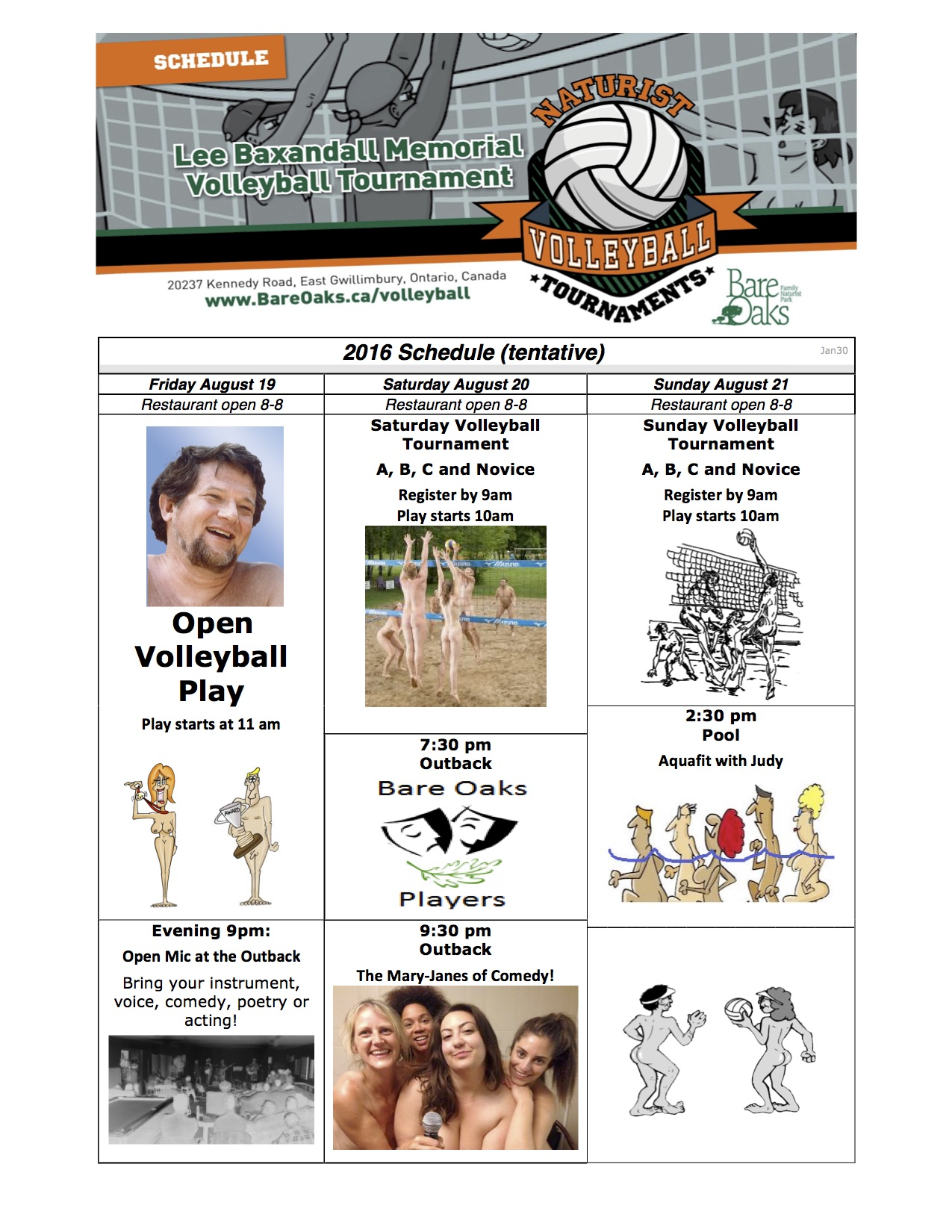 Baxandall Nude Volleyball Tournament schedule 2016