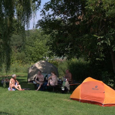 naturists camping and talking
