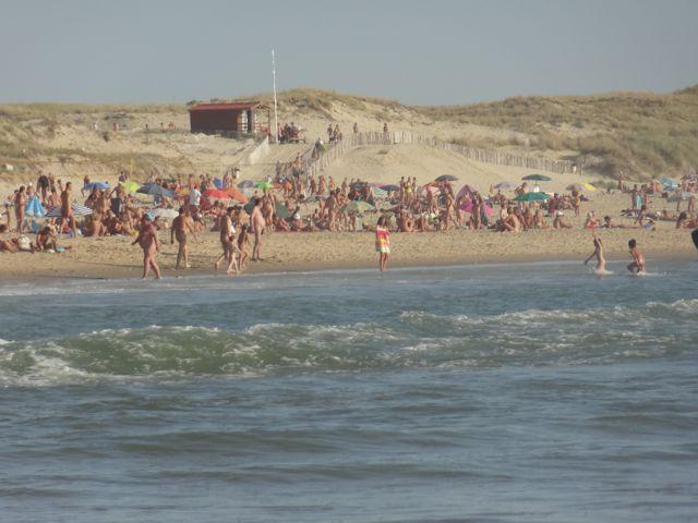 The beach on the Atlantic Ocean in the CHM Montalivet near Bordeaux, France.