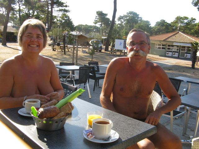 Karen and Stephane enjoying a morning coffee and fresh bread in one of the restaurants at the CHM Montalivet.