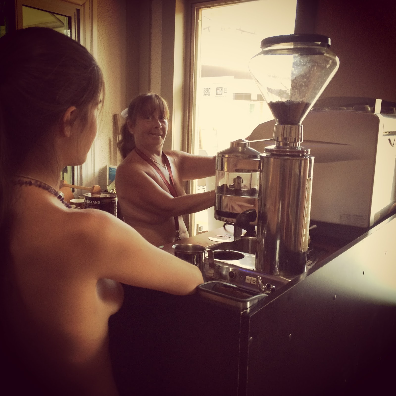Kim making an espresso coffee at Bare Oaks Family Naturist Park