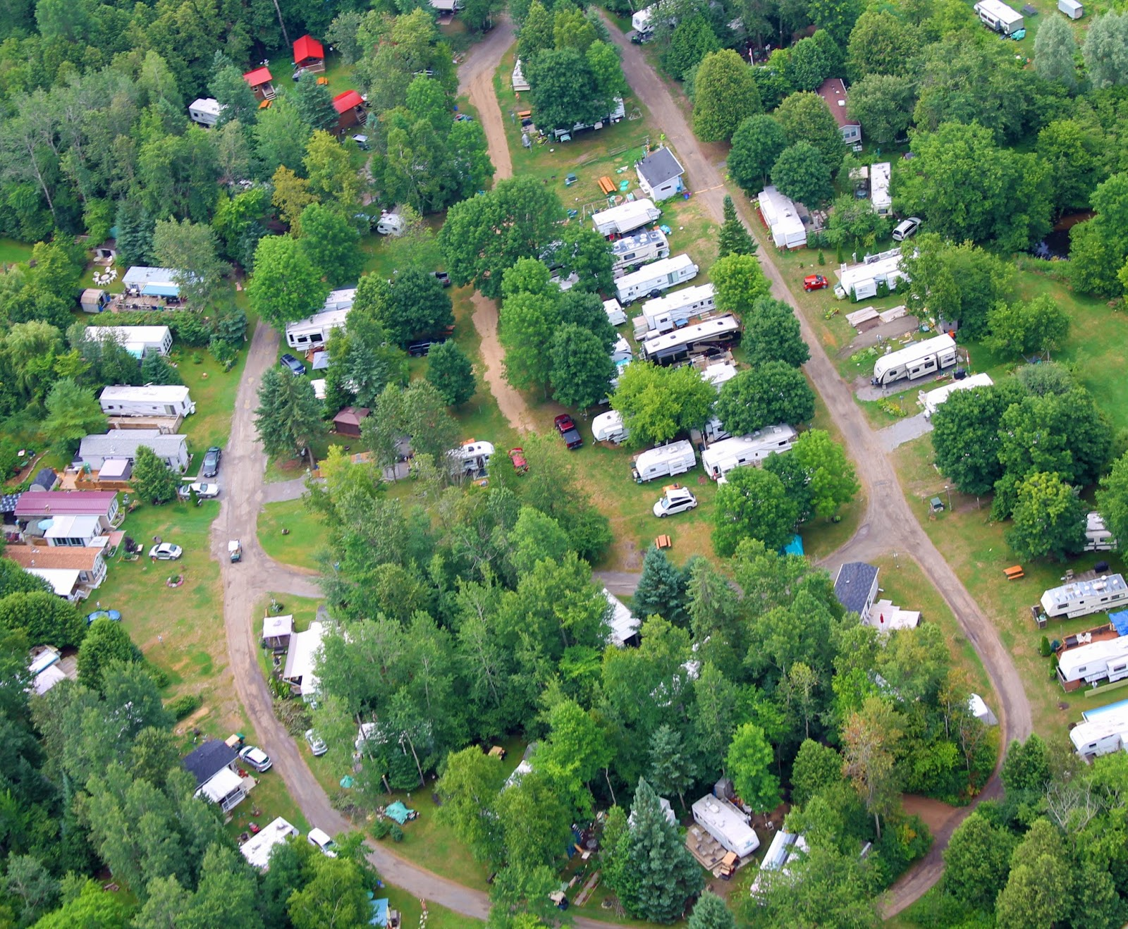 Aerial of Beckett Circle campsites at Bare Oaks Family Naturist Park