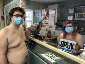 office staff wearing masks