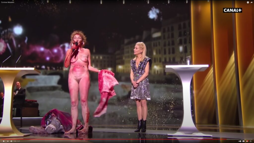 Corinne Masiero protests nude at the 2021 Cesar awards in France