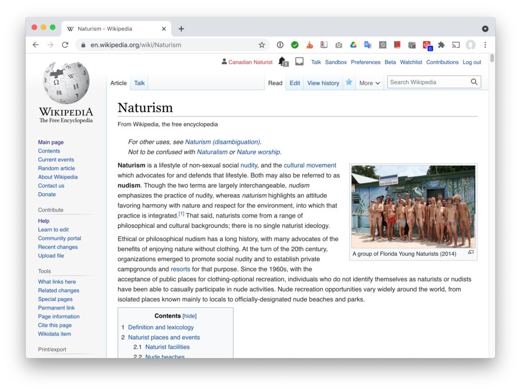 naturism entry in wikipedia