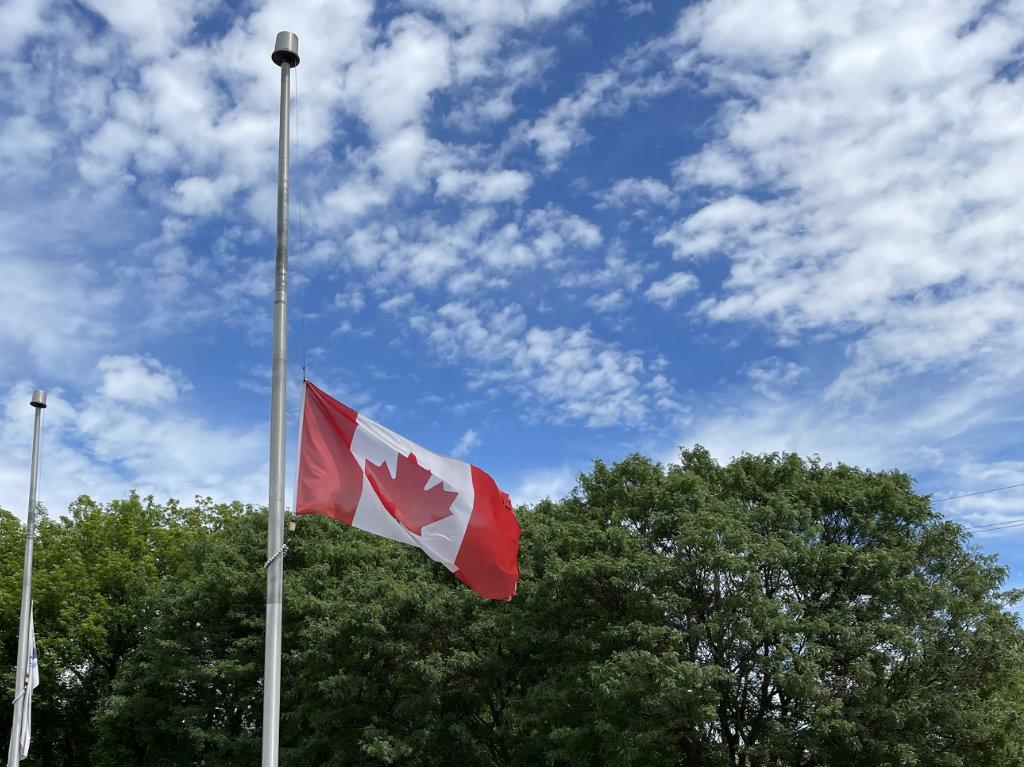 Canadian Flag at Half Mast in East Gwillimbury
