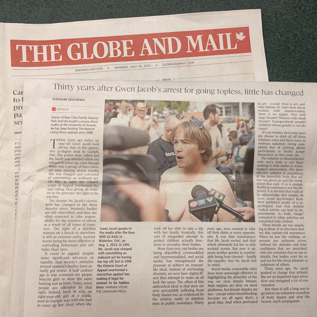 Globe and Mail Opinion Column about Gwen Jacob 30th anniversary of her arrest